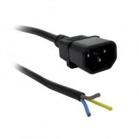 Cordon IEC Mâle C14 - 2 mètres - 3*1.5mm - noir - dénudé